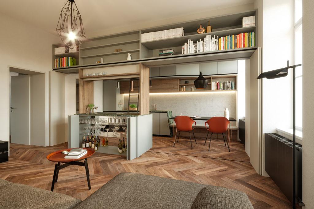 Altbau- Umbau Wohnung M&T - Blick auf die geöffnete Wohnwand mit Faltschiebetüren