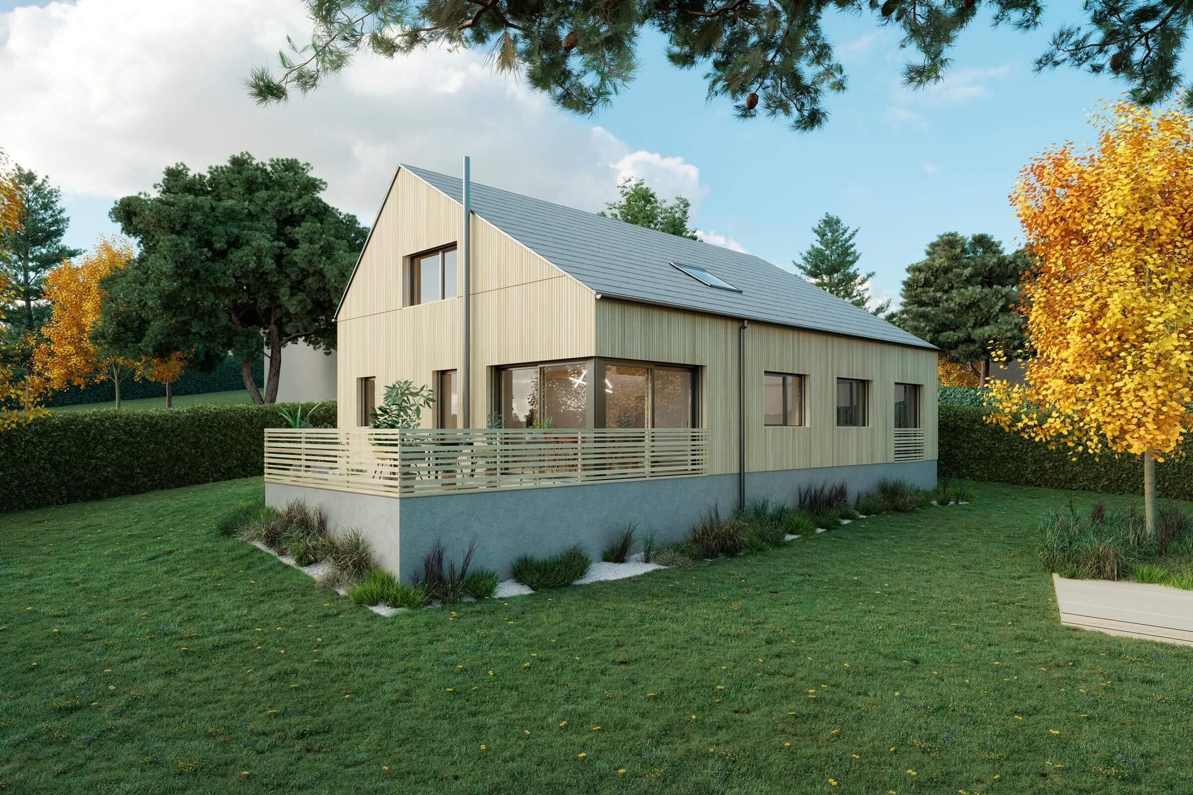 Blick vom Garten auf das Holzhaus mit Terrasse